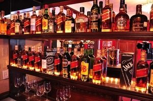 Image of a well stocked bar with drinks on shelves